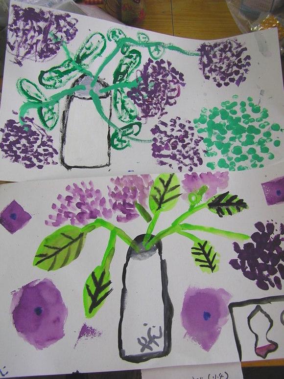 あじさいの花を見て描いたよ。