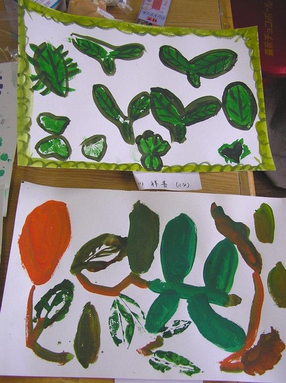 緑色を使わないで葉を描いたよ。