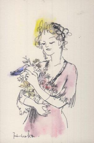 花を抱く女