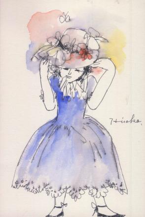 青いドレスの少女