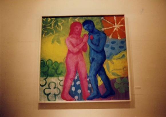 アダムとイブ 麻紙 顔料 インク 1450 × 1450 (mm)