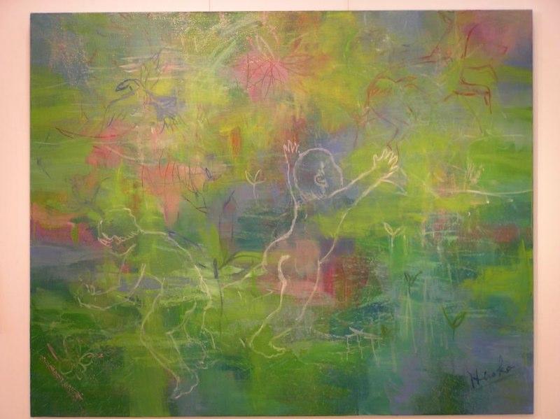 この展示会のために描いた油絵