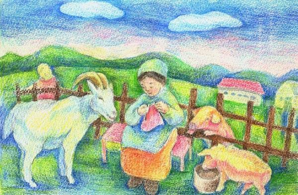 牧場の少女